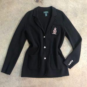 LAUREN 3D Beaded Crest Cotton Cardigan Sweater